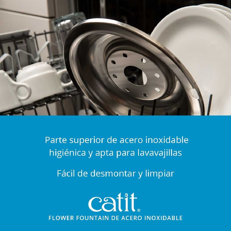 Fuente-Para-Gatos-Catit-Acero-Inoxidable-Con-Flor-3-Lt