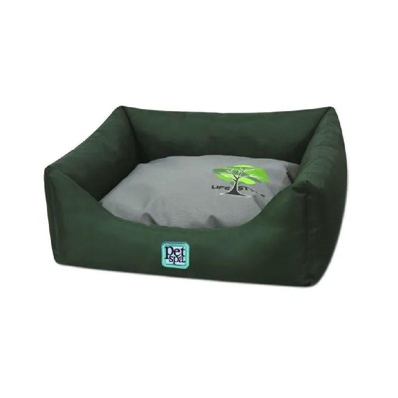 Cama-Verde-Para-Perros-y-Gatos-Cuadrada-Mediana-Pet-Spa